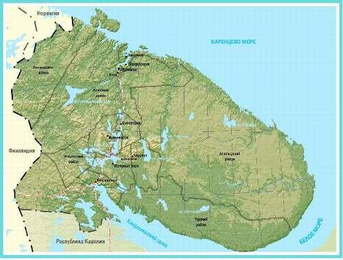 Карта-схема Мурманской области