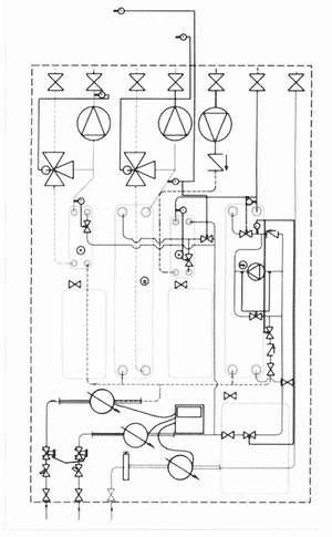 Рис 4. Принципиальная схема термотрансформатора с теплообменниками для ГВС, отопления и обогрева полов (со смесительными насосами) (обозначения см. рис, 2)