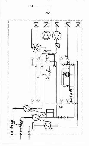 Рис. 5. Принципиальная схема термотрансформатора с теплообменниками ГВС и отопления (со смесительными насосами) (обозначения см. рис. 2)