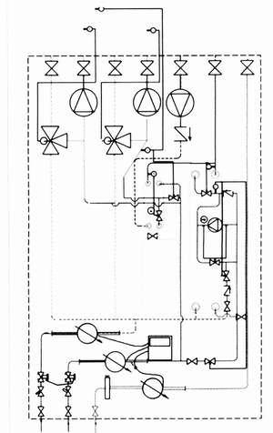 Рис. 7. Принципиальная схема термотрансформатора с теплообменниками для ГВС и без теплообменников для отопления и вентиляции (со смесительными насосами) (обозначения см. рис. 2)