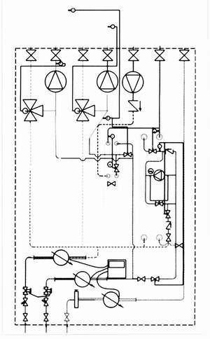 Рис. 8. Принципиальная схема термотрансформатора с теплообменниками для ГВС и без теплообменников для отопления и обогрева полов (со смесительными насосами) (обозначения см. рис. 2)