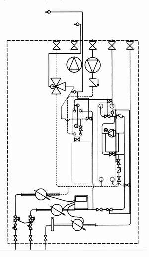 Рис. 9 Принципиальная схема термотрансформатора с теплообменниками для ГВС и без теплообменников для отопления (со смесительными насосами) (обозначения см. рис. 2)